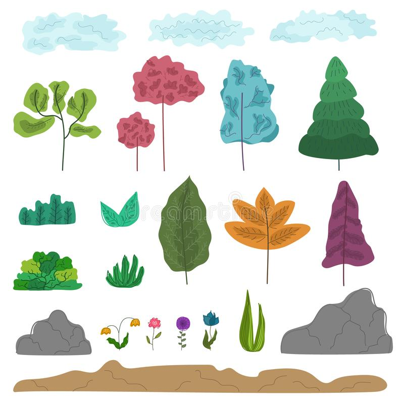 Set of colorful fantasy abstract trees, grass royalty free illustration