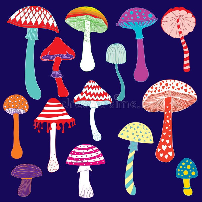 Set of colorful fantasy mushrooms illustration vector illustration