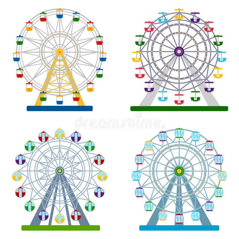 Set of colorful ferris wheels on white background, vector illust stock illustration