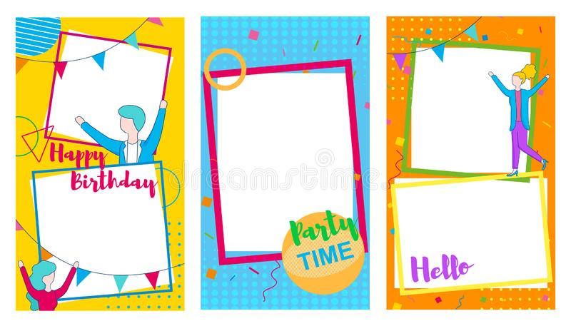 Set of Festive Frames with Happy Dancing People. vector illustration