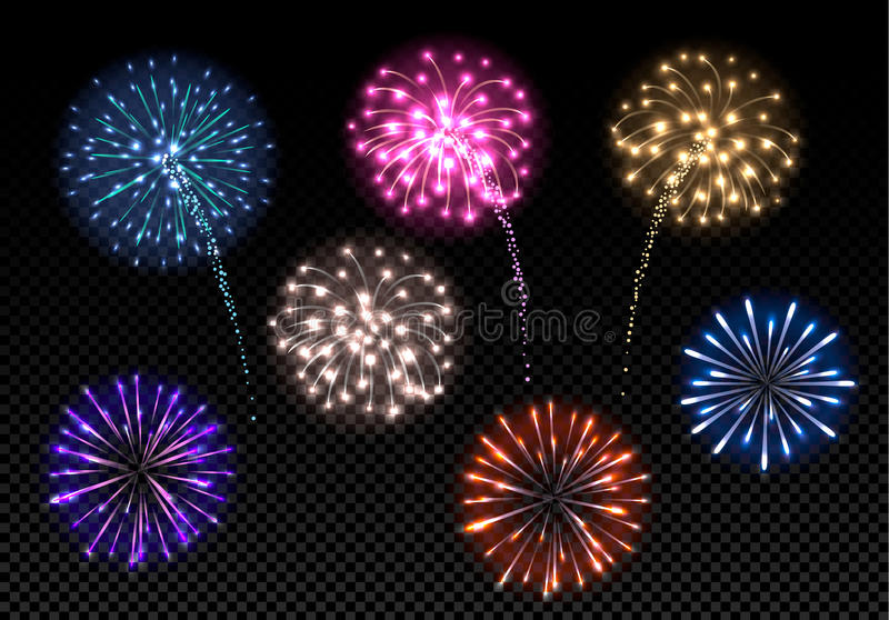 Set of colorful fireworks. On dark background stock illustration