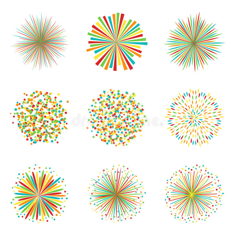 Set of colorful fireworks on white background, vector. Collection of colorful fireworks on white background, vector illustration royalty free illustration