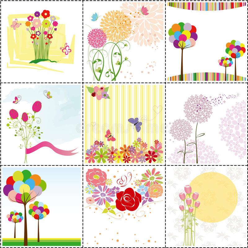 Set of colorful flower greeting card stock illustration