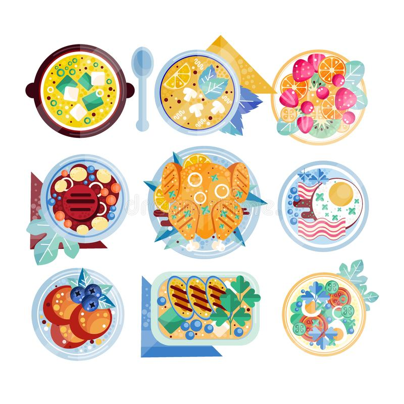 Colorful food icons. Plates with various dishes. Scrambled eggs with bacon, mushroom soup, chicken, beefsteak, fruits. Set of colorful food icons in flat style vector illustration