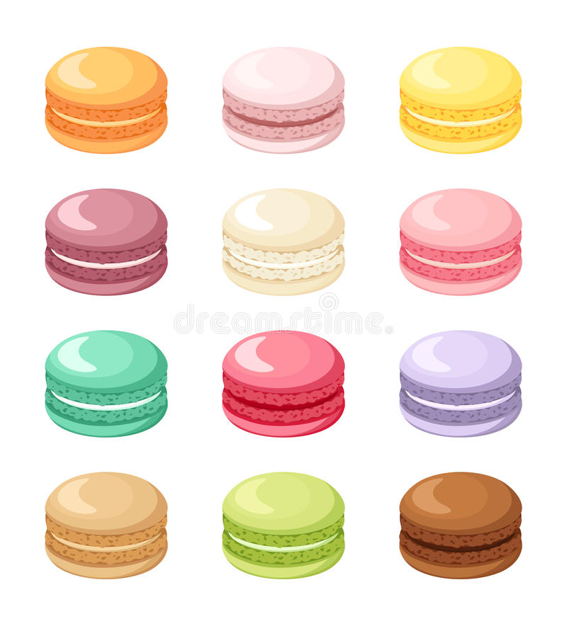 Set of colorful French macaroon cookies isolated on white. Vector illustration. stock illustration