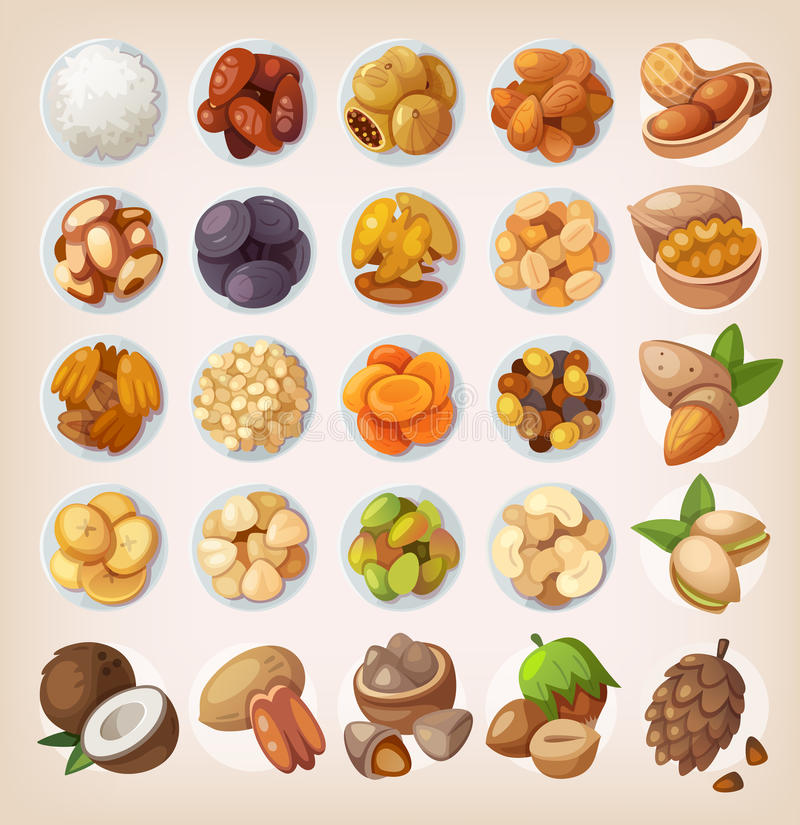 Set of colorful fruit and nuts. vector illustration