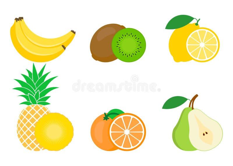 Set of colorful fruits icon: orange, pear, banana, lemon, pineapple, Kiwi. Vector illustration isolated on white royalty free illustration