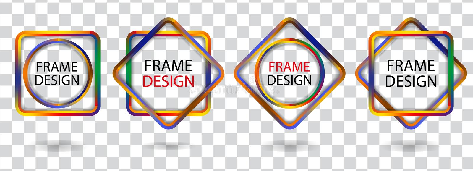 Set colorful geometric frames on a transparent background. Vector royalty free illustration