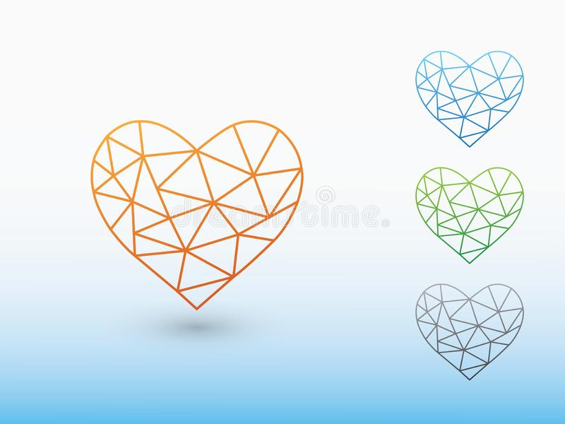A set of colorful geometric heart shapes of making love with shadow on light background. Vector illustration royalty free illustration