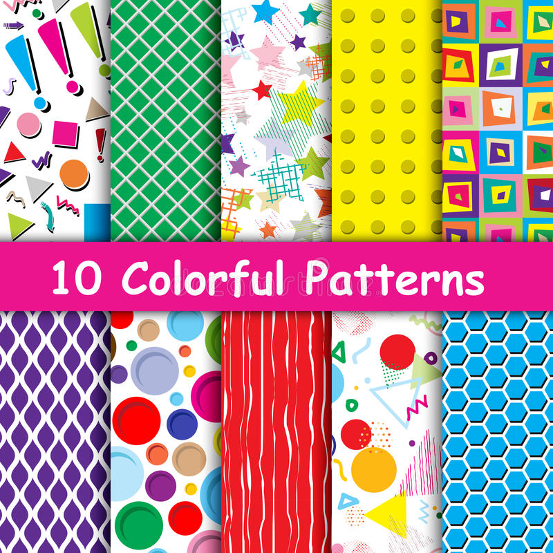 Set of 10 Colorful geometric seamless patterns royalty free illustration