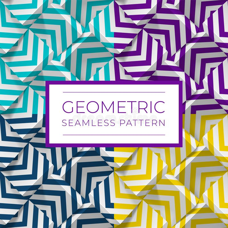 Set of colorful geometric seamless patterns. 3d cubes with strips. Illustration for wallpapers, textile, fabric royalty free illustration
