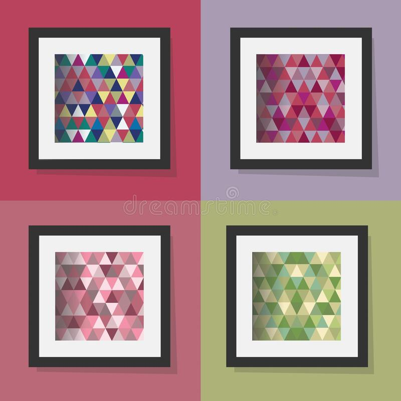 Set of colorful geometrical triangle patterns frames stock illustration