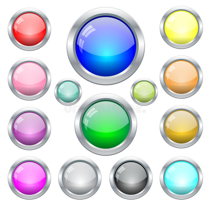 Set of colorful glass web buttons in metal frame stock illustration