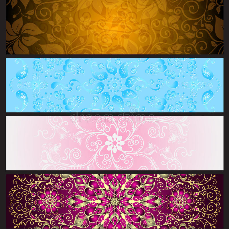 Set colorful gradient banners for design stock illustration