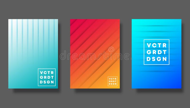 Set of colorful gradient cover for flyer, poster, brochure, typography and other printing products stock illustration