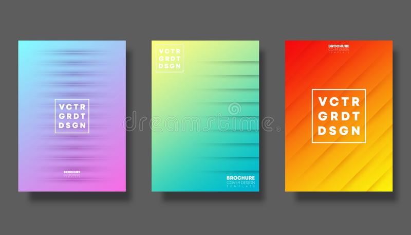 Set of colorful gradient cover for flyer, poster, brochure, typography and other printing products vector illustration