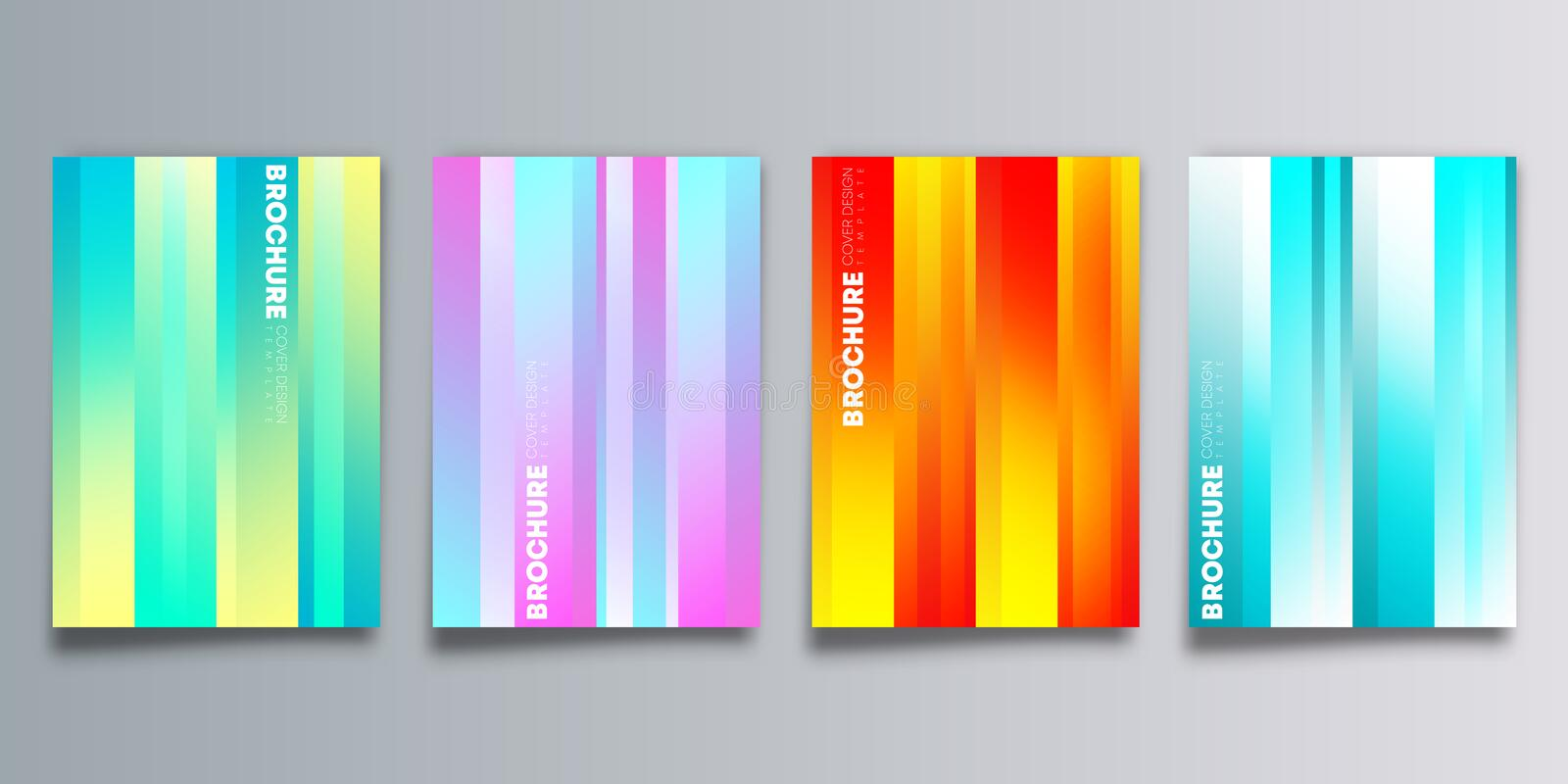 Set of colorful gradient cover with stripes design for flyer, poster, brochure template, typography or other printing products stock illustration