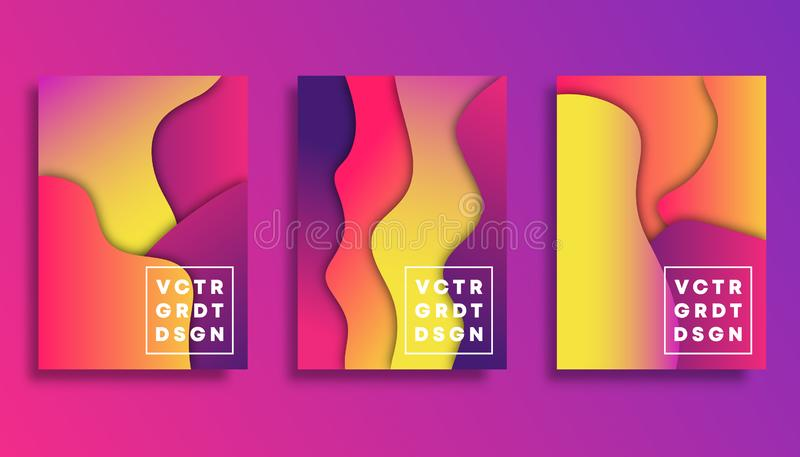 Set of colorful gradient cover template design for flyer, poster, brochure, typography or other printing products stock illustration