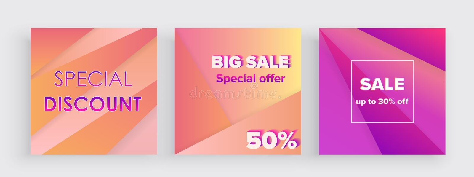 Set of colorful gradient trendy sale banner background template. Cover design Big Sale and Special Offer stock illustration