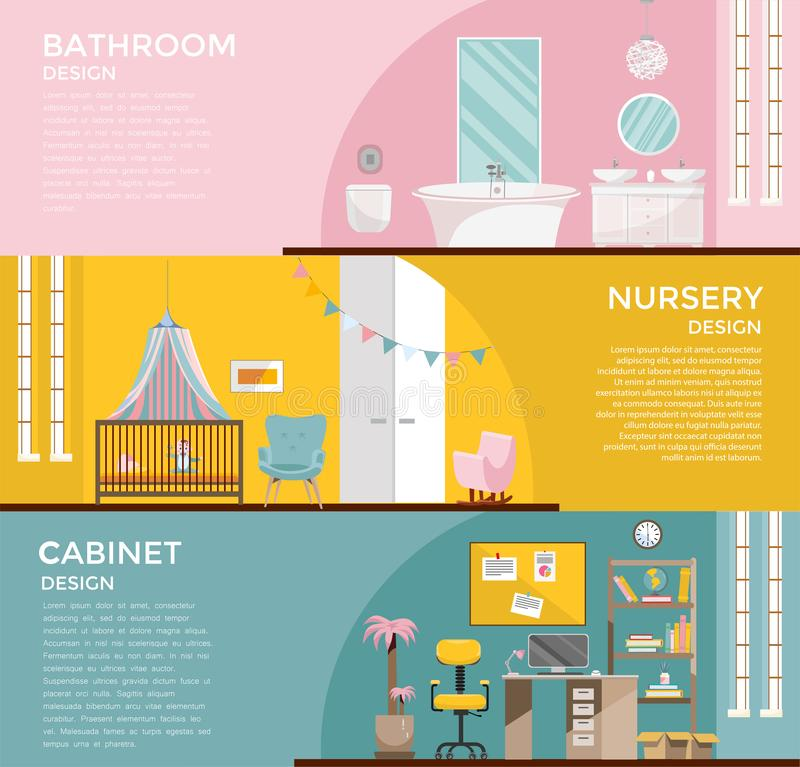 Set of colorful graphic room interiors:bathroom with toilet nursery with canopy, cupboard, home office with desk, Workplace royalty free illustration