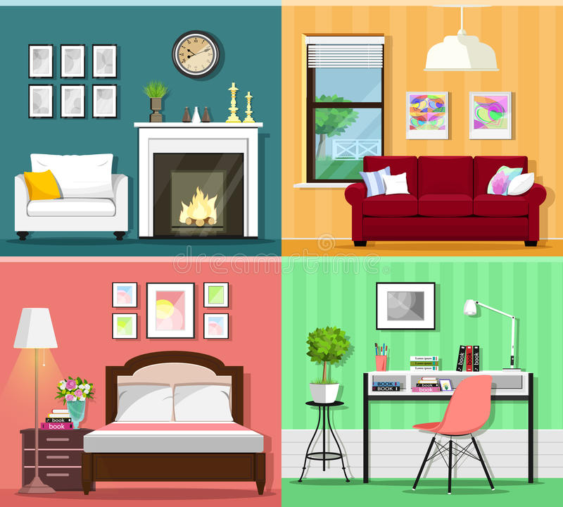 Set Of Colorful Graphic Room Interiors With Furniture Icons Living Rooms Bedroom And Home