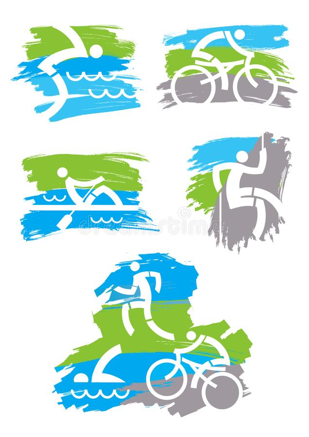 Fitness outdoor sports grunge icons. royalty free illustration
