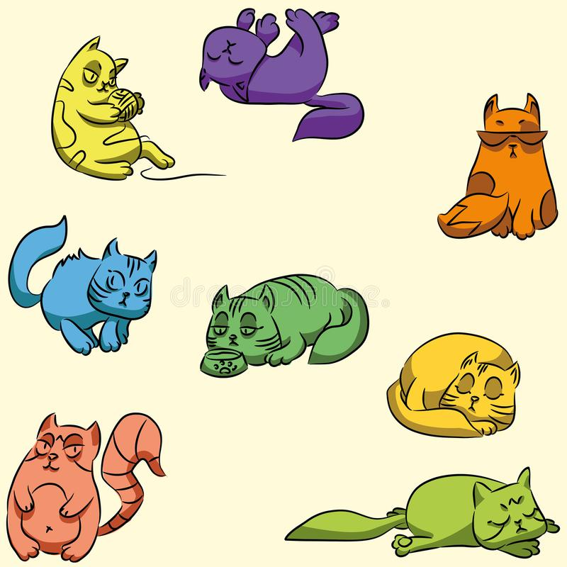 Set of colorful guard cats. Seamless Wallpaper for kids room. Vector stock illustration