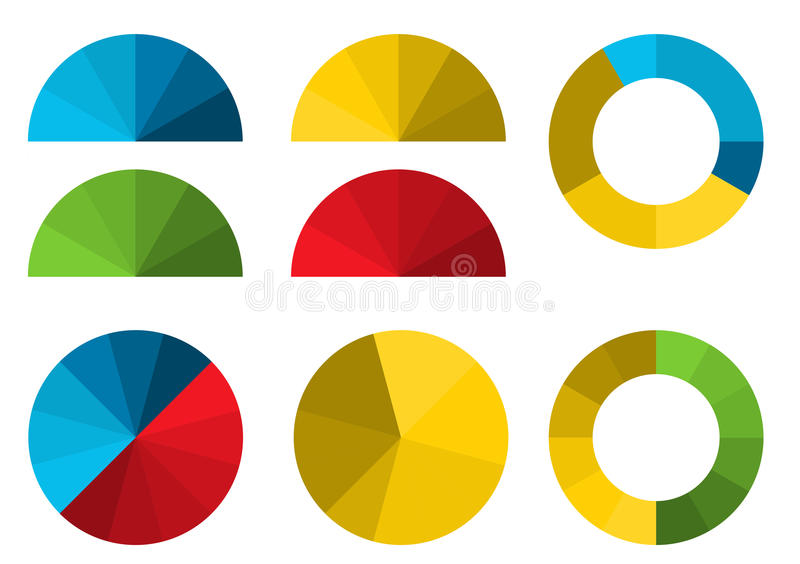 Set of 4 colorful half pie diagrams in color shades and 4 full p vector illustration