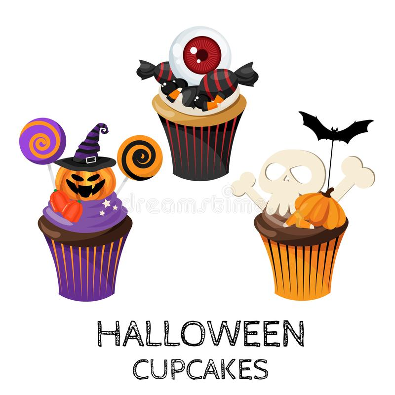Set of colorful Halloween cupcakes and Candy. Set of colorful cute Halloween cupcakes with Halloween elements on white background. Vector illustration royalty free illustration
