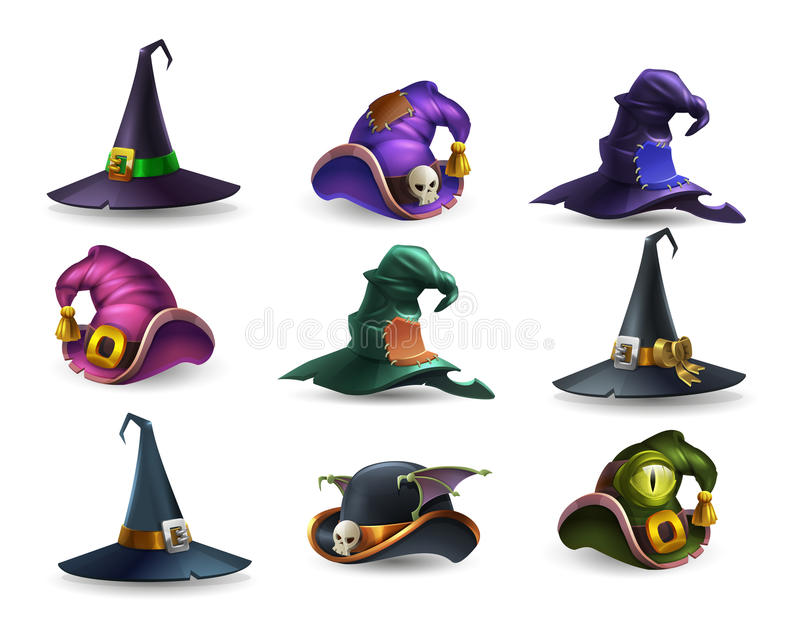 Set of colorful halloween hat and witch cap icons. vector illustration