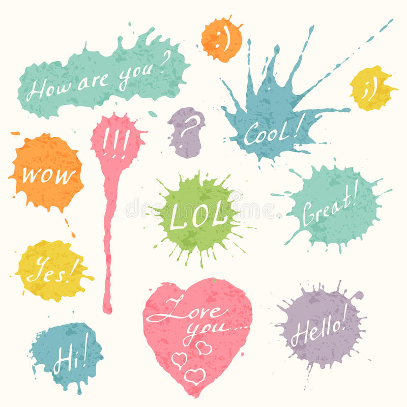 Set of colorful hand drawn short messages. Set of hand drawn short messages placed on the colorful ink splashes, blots and heart. How are you, cool, LOL, Great vector illustration