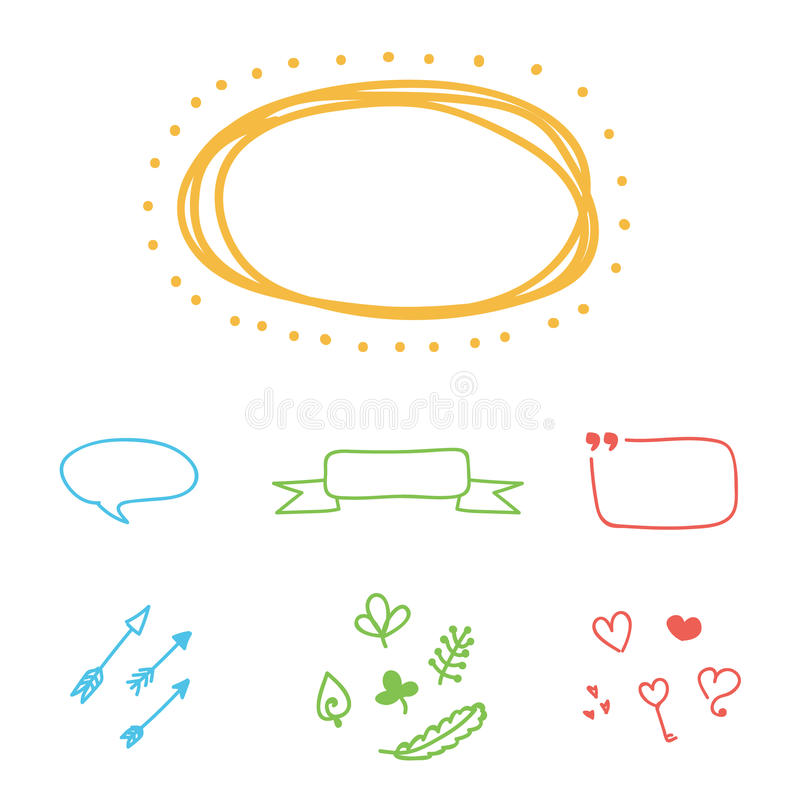 Set of colorful hand-drawn vector borders, frames and design elements royalty free illustration