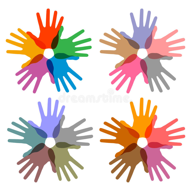 Set of colorful hand print icons stock illustration