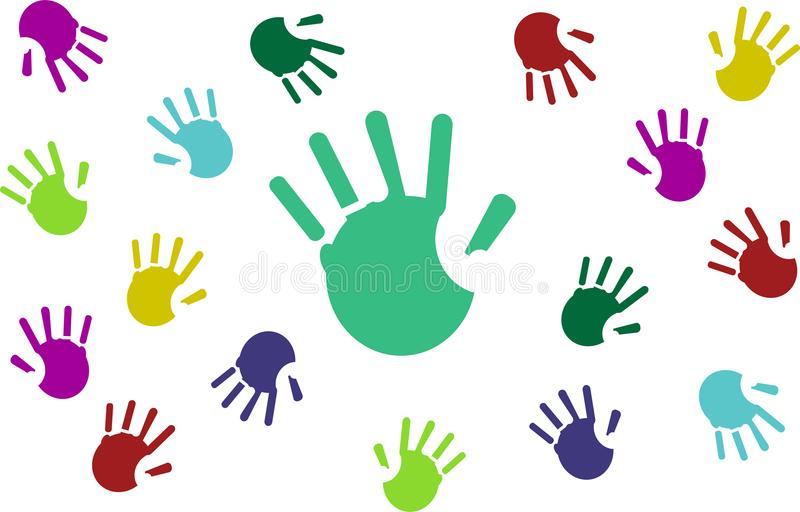 Set of colorful hand prints isolated on white background. royalty free illustration