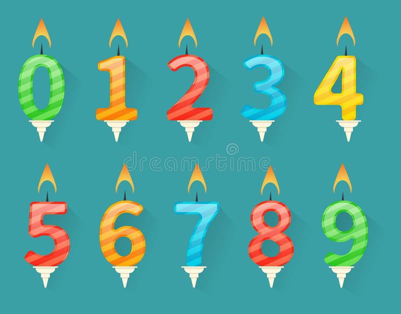 Set of colorful happy birthday number candles vector illustration