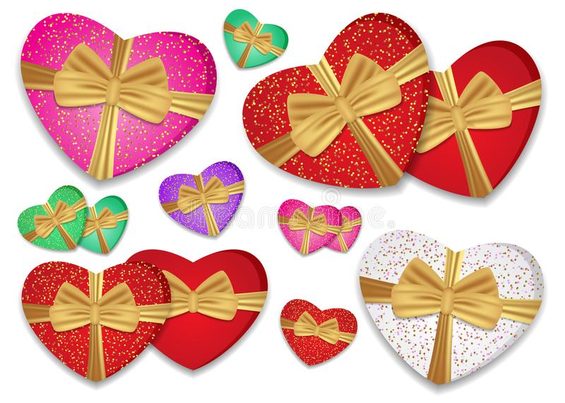 Set colorful hearts tied gold ribbon with a bow. Box in the shape of a heart. Vector stock illustration