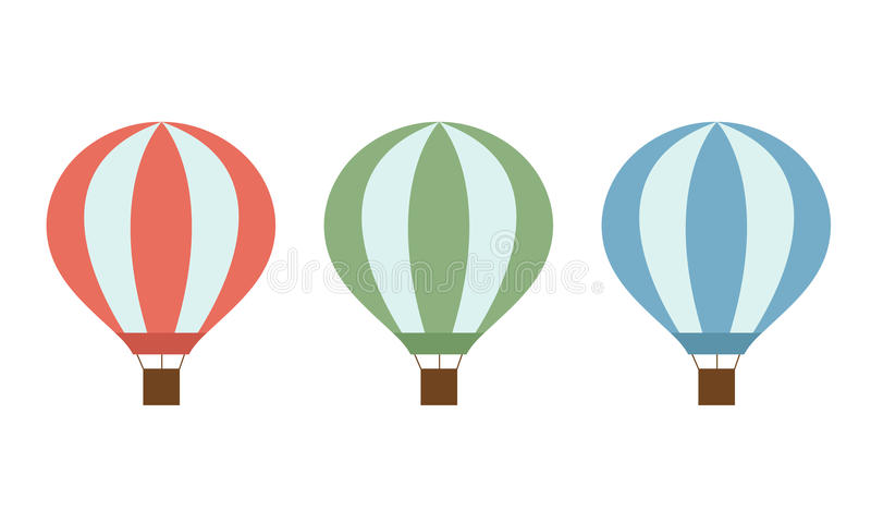 Set of colorful hot air balloons of red green and blue colors with a basket and ropes isolated on white background stock illustration
