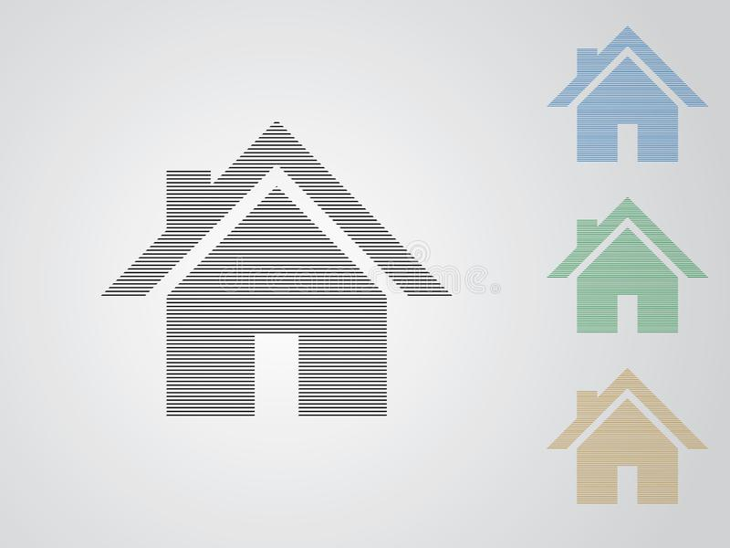 A set of colorful house vector logos for real estate business using straight lines on white background illustration royalty free illustration