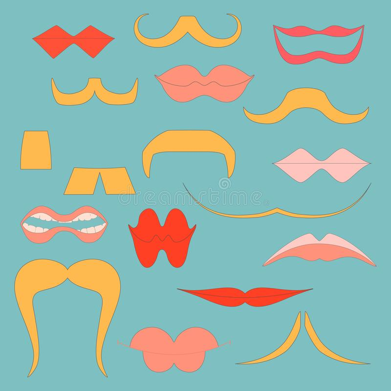 Set with Colorful Icons of Moustaches and Lips. Showing Different Styles and Emotions. Flat Vector Icon for Web, Mobile Apps or Print. Vector EPS 8 vector illustration