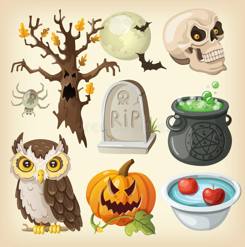 Set of colorful items for halloween. stock illustration