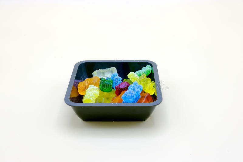 Set of colorful jelly candies on a bowl royalty free stock images
