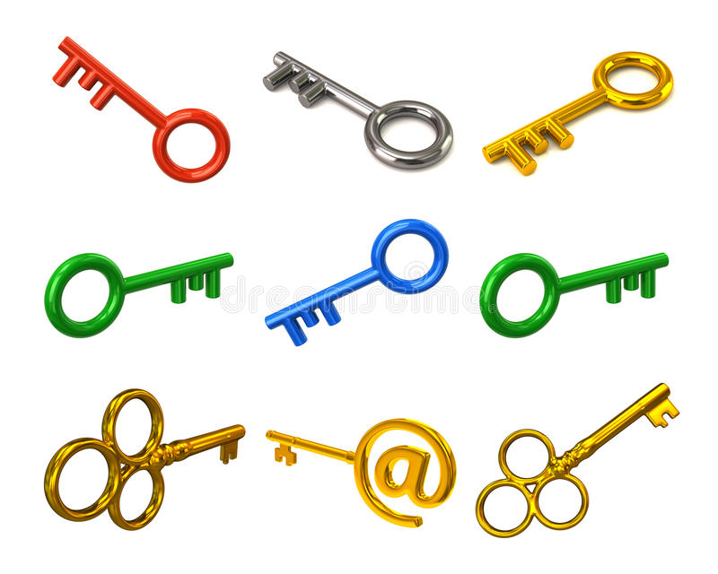 Set of colorful keys stock illustration
