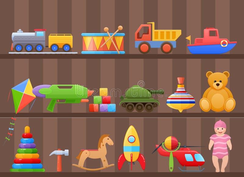 Set colorful kids, children`s toys cartoon, on shelf of cabinet. stock illustration