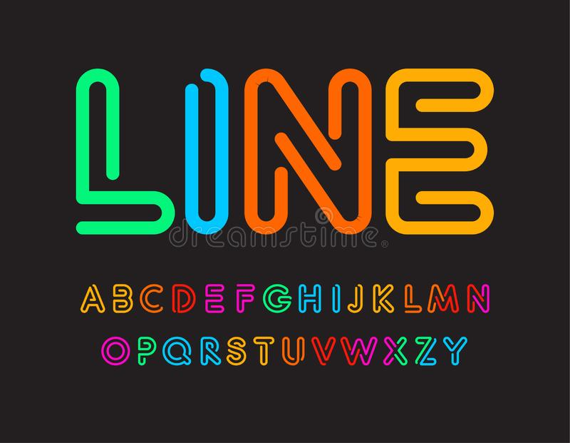 Set of colorful letters. Font from color line. Art alphabet. Simple maze typeset. Vector type on black background. vector illustration
