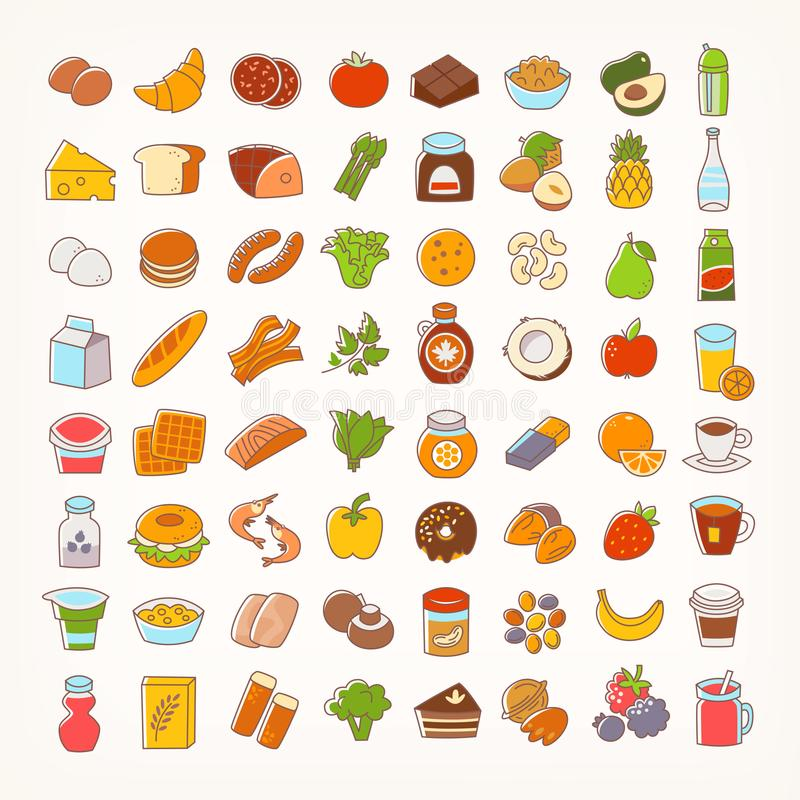 Set of colorful line stroke icons of food stock illustration
