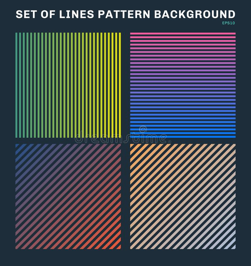 Set of colorful lines pattern background and texture royalty free illustration