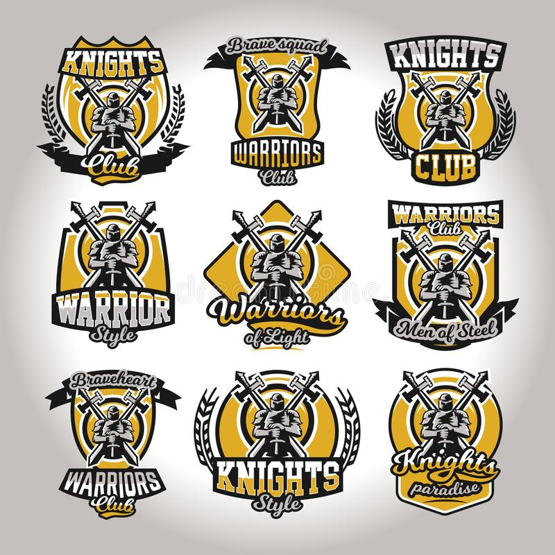 Set of colorful logos, emblems of a knight on a background of two cross swords, used different fonts and shields. The. Theme knights, barbarians, warriors vector illustration
