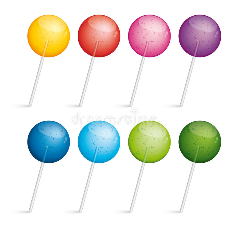 Set of colorful lollipops stock photo