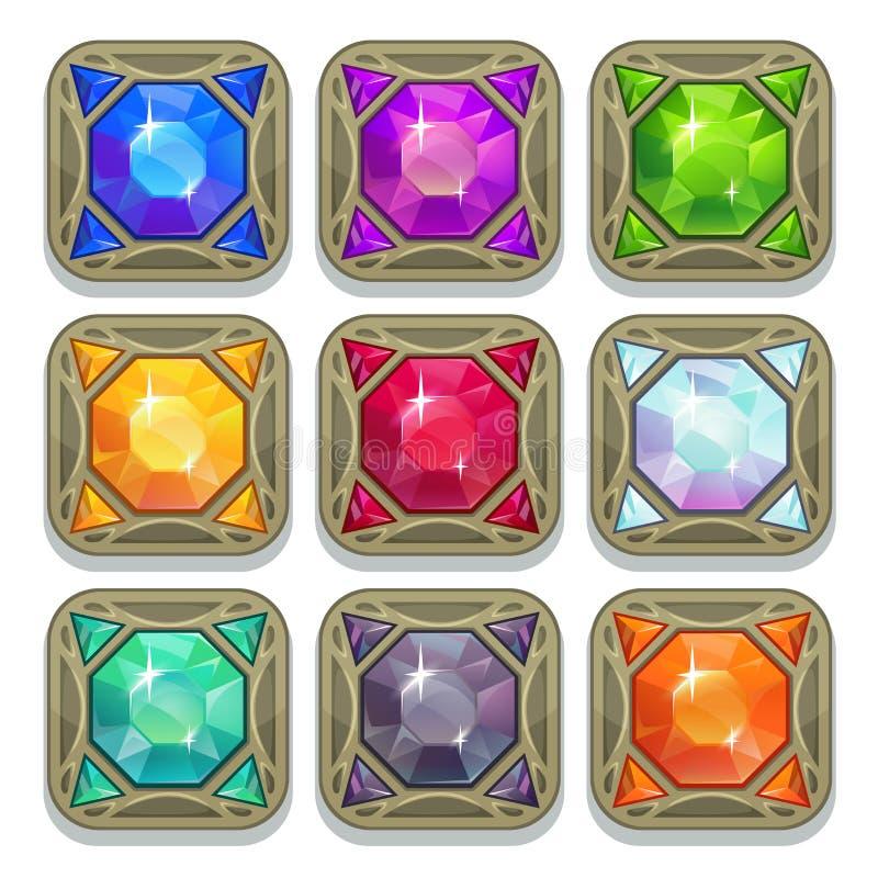 Set of colorful magic gemstones stock illustration