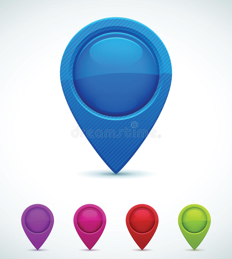 Set of Colorful Map Markers royalty free illustration